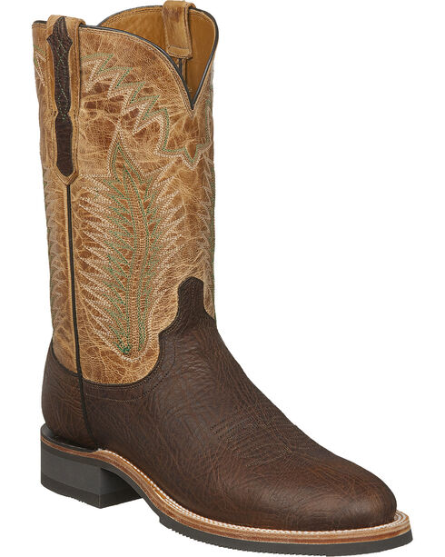 Lucchese Men's Wyatt Brown/Tan Bull Shoulder Rubber Outsole Western Boots - Round Toe, Brown, hi-res
