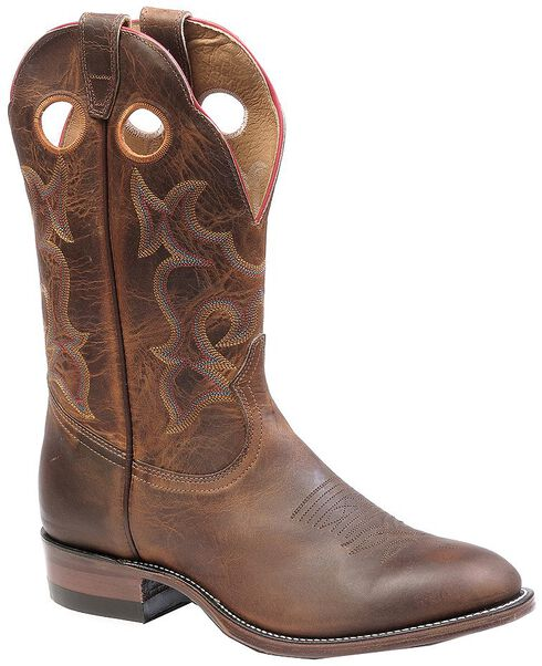 Boulet Chocolate Roper Cowboy Boots - Round Toe, Tan, hi-res