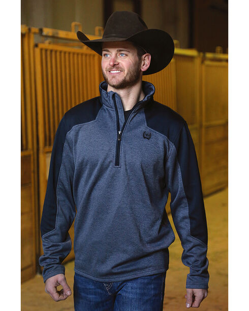 Cinch Men's Navy Tech Fleece 1/2 Zip Pullover , Navy, hi-res