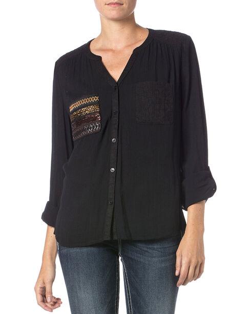 Miss Me Pocket Detail Long Sleeve Top, Black, hi-res
