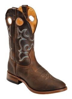 Boulet Chocolate Roper Cowboy Boots - Round Toe, Brown, hi-res