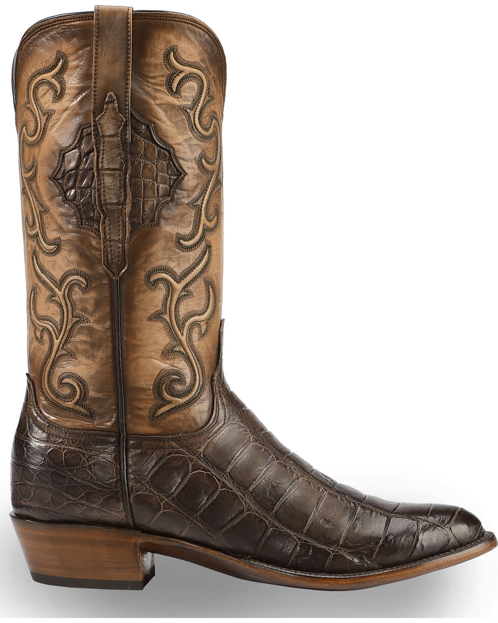 Lucchese Men's Handmade Ace Chocolate Giant Gator Western Boots - Medium Toe , Chocolate, hi-res