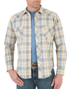 Wrangler Men's Sawtooth Plaid Long Sleeve Shirt, Brown, hi-res