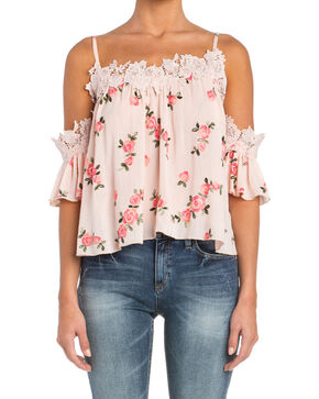 Miss Me Floral Print Cold Shoulder Top with Lace Trim, Pink, hi-res