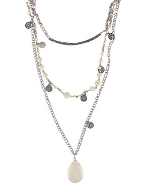 Shyanne Women's Layered Gemstone Necklace, Cream, hi-res