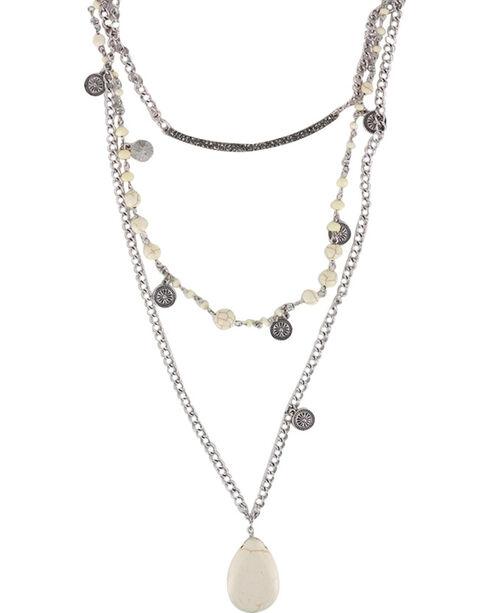 Shyanne Women's Layered Gemstone Necklace, Cream, hi-res