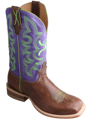 Twisted X Purple Hooey Cowboy Boots - Square Toe, Brown, hi-res