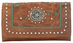 American West Lady Lace Tri-Fold Leather Wallet, , hi-res