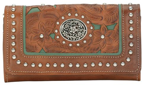 American West Lady Lace Tri-Fold Leather Wallet, Brown, hi-res