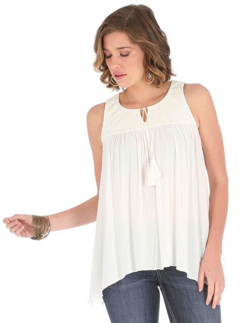 Wrangler Women's Cream Tassel Tie and Lace Peasant Top , Cream, hi-res