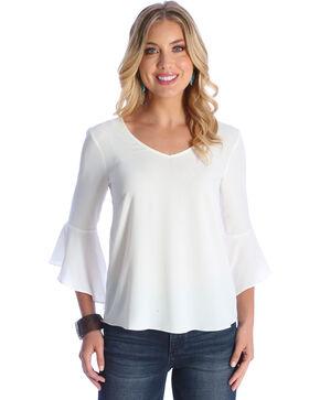 Wrangler Women's Cream Strappy Back Bell Sleeves Top , Cream, hi-res