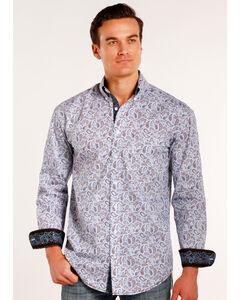 Rough Stock by Panhandle Men's Janmar Paisley Print Long Sleeve Button Down Shirt, Light/pastel Blue, hi-res