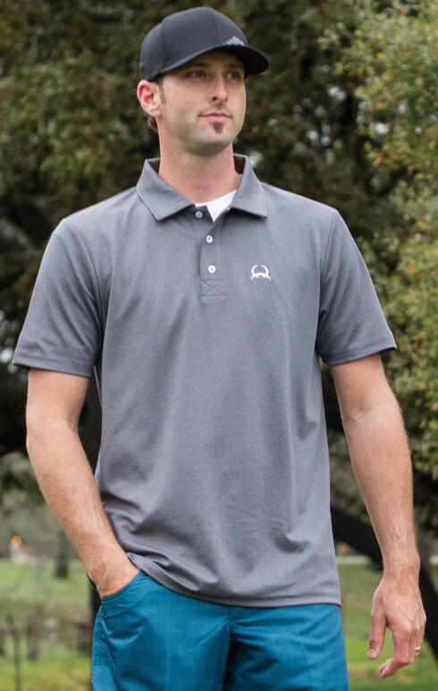 Cinch Men's Heather Grey Solid Spandex Short Sleeve Polo , Hthr Grey, hi-res