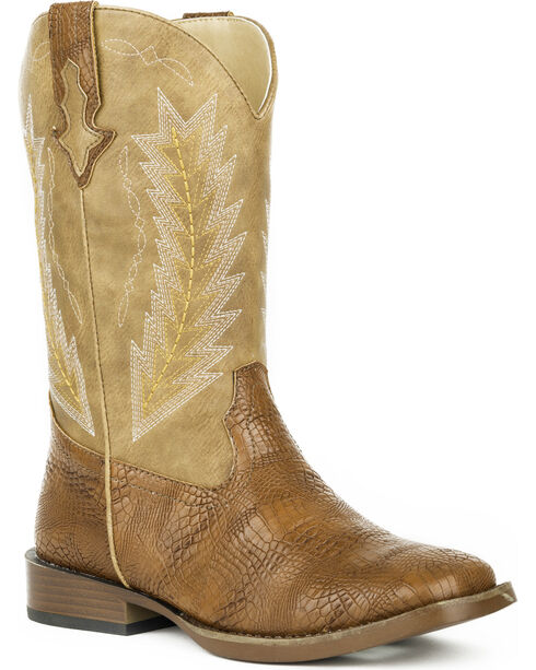 Roper Boys' Charlie Caiman Arrowhead Cowboy Boots - Square Toe, Brown, hi-res