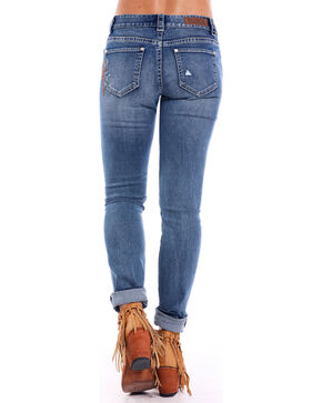 Rock & Roll Cowgirl Women's Western Embroidered Boyfriend Skinny Jeans , Indigo, hi-res