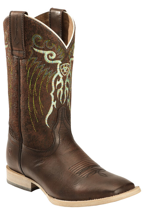 Ariat Youth Boys' Copper Mesteno Boots - Wide Square Toe , Copper, hi-res
