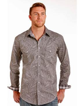 Rough Stock by Panhandle Men's Mataro Vintage Print Snap Shirt, Grey, hi-res