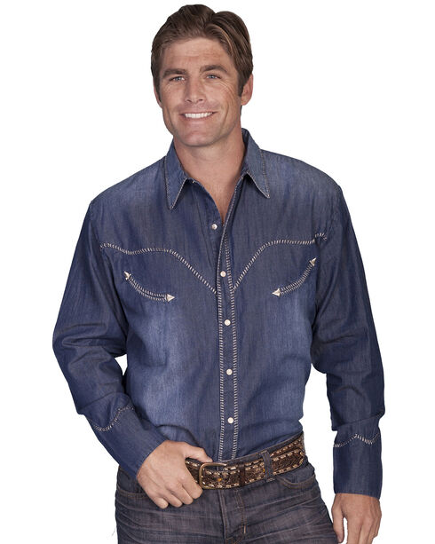 Scully Whip Stitched Denim Retro Western Shirt, Blue, hi-res