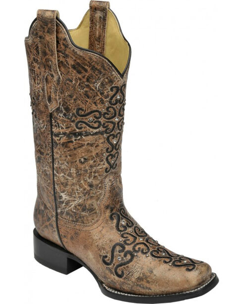 Corral Distressed Bronze Crystal Embroidered Cross Cowgirl Boots - Square Toe , Bronze, hi-res