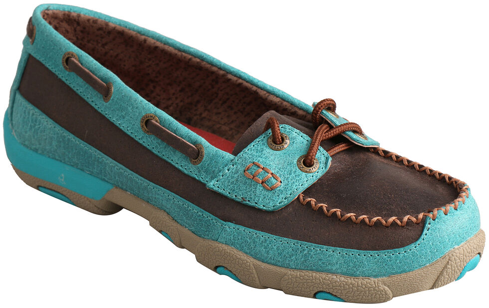 Twisted X Women's Brown and Turquoise Driving Mocs, Brown, hi-res