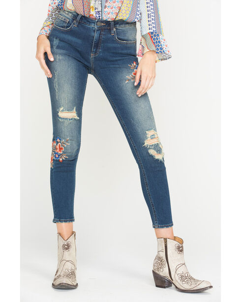 Miss Me Women's Embroidered Ankle Jeans - Skinny , Indigo, hi-res