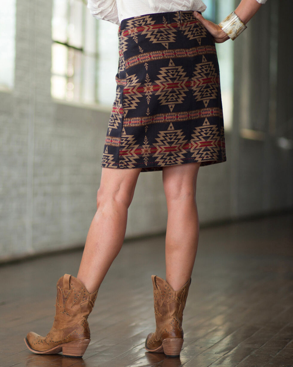 Ryan Michael Women's Aztec Cross Wrap Skirt , Multi, hi-res