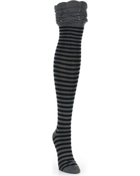 K. Bell Women's Charcoal Rouched Top Socks , Black, hi-res