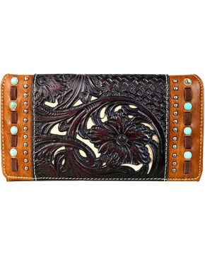 Trinity Ranch Women's Coffee Floral Tooled Secretary Style Wallet , Brown, hi-res