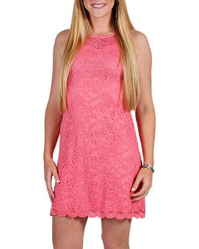 Jody of California Women's Lace Dress, Coral, hi-res