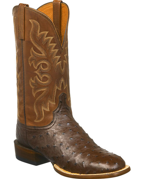 Lucchese Men's Harmon Full Quill Ostrich Western Boots - Square Toe, Brown/pink, hi-res