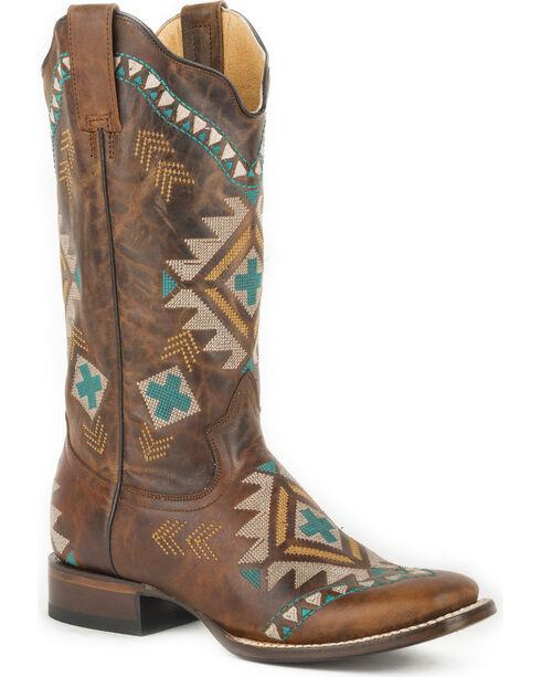 Roper Women's Tan Mai Western Boots - Square Toe , , hi-res