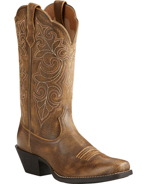 Ariat Women's Round Up Distressed Leather Cowgirl Boots - Square Toe, Lt Brown, hi-res