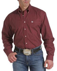 Cinch Men's Red Print Single Pocket Long Sleeve Shirt , , hi-res
