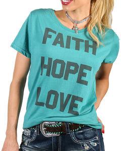 Grace & Truth Women's Teal Faith Hope Love Tee , Teal, hi-res