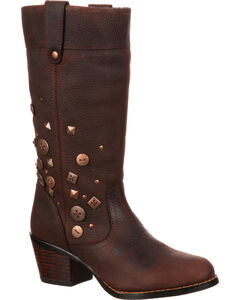 Durango Women's City Philly Turn Down Pull-On Boots, Chocolate, hi-res