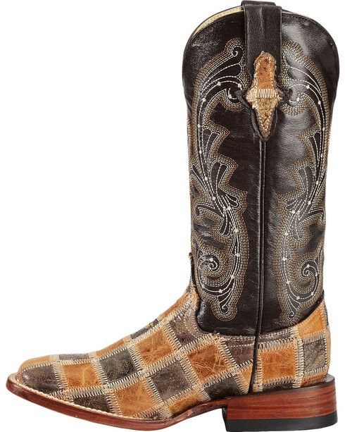Ferrini Patchwork Cowgirl Boots - Square Toe, Brown, hi-res