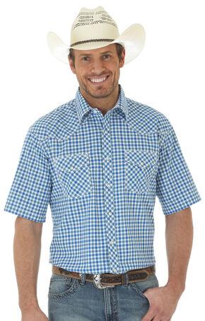 Wrangler 20X Men's Short Sleeve Plaid Shirt, Blue, hi-res