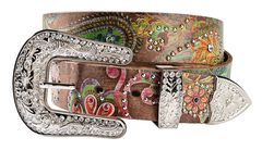 Nocona Floral Paisley Print Leather Belt, Brown, hi-res