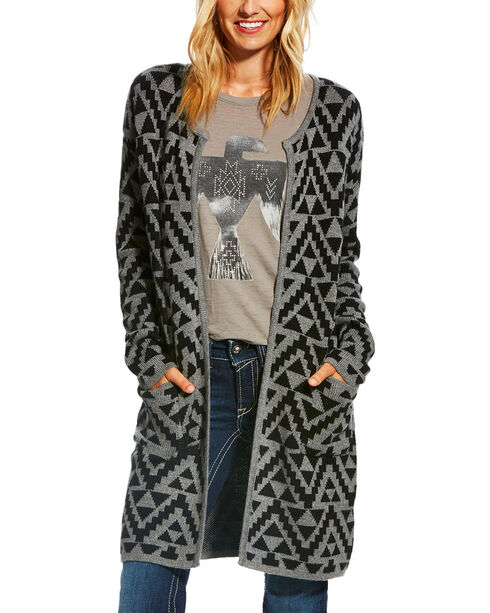 Ariat Women's Aztec Print Open Front Cardigan , Multi, hi-res