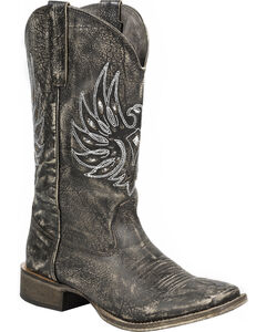 Roper Sanded Brown Eagle Stud Cowgirl Boots - Square Toe, , hi-res