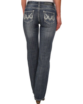 Rock & Roll Cowgirl Women's Mid Rise Dark Wash Boot Cut Jean, Indigo, hi-res