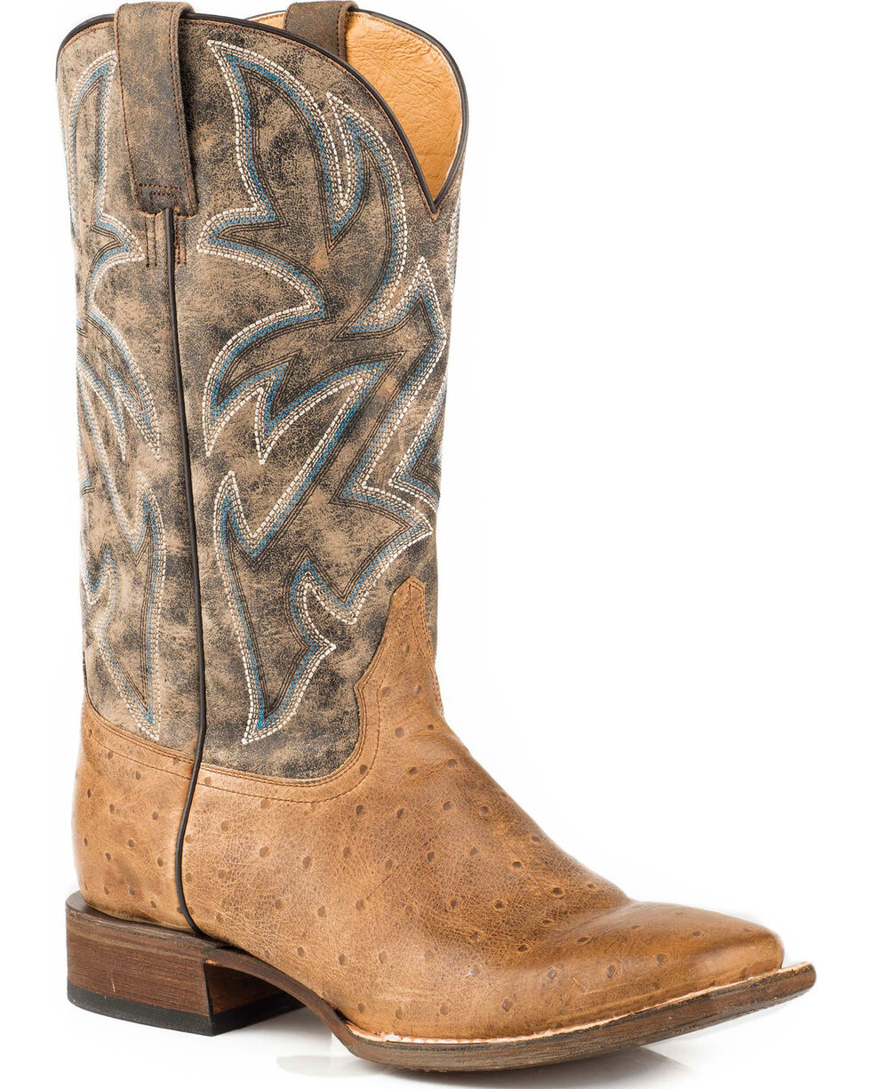 Roper Men's Ozzie Embossed Burnished Tan Ostrich Cowboy Boots - Square Toe, Tan, hi-res