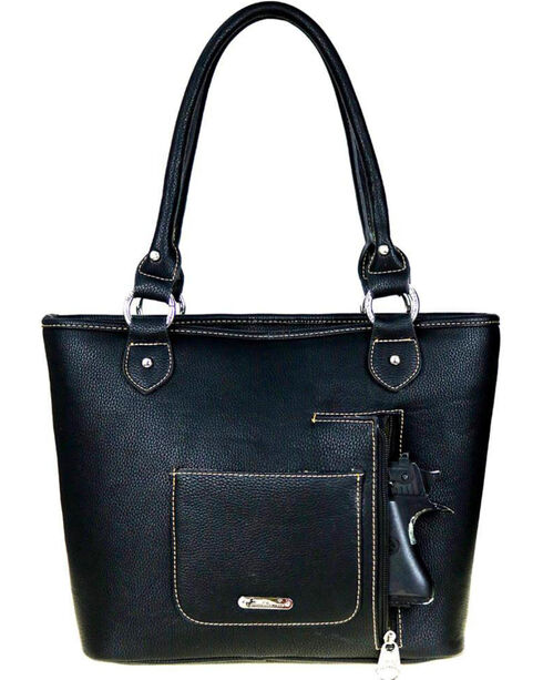 Montana West Women's Black Buckle Concealed Carry Tote , Black, hi-res