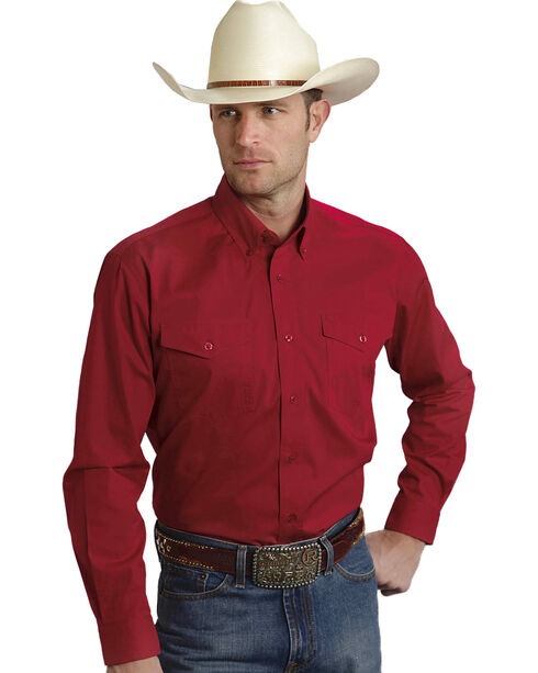Roper Amarillo Collection Solid Red Western Shirt, Red, hi-res