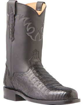 El Dorado Men's Caiman Belly Roper Boots - Round Toe, Black, hi-res