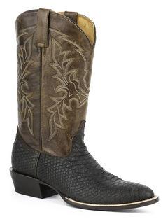 Roper Python Print Cowboy Boots - Round Toe, , hi-res