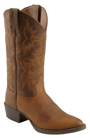 Justin Stampede Western Boots - Medium Toe, Tan, hi-res