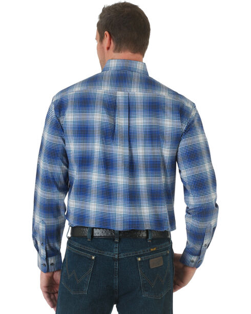 Wrangler Advanced Comfort Blue and Black Plaid Western Shirt, Blue, hi-res