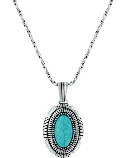Montana Silversmiths Women's Southwest Hatched Oval Pendant Necklace , Silver, hi-res