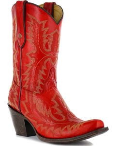 """Corral Women's Picasso 10"""" Western Boots - Snip Toe, Red, hi-res"""